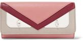 Fendi Bag Bugs Embellished Textured-leather Continental Wallet - Antique rose