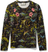Gucci Appliquéd Tropical-Print Loopback Cotton-Jersey Sweatshirt