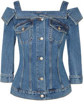 Alexander McQueen Cold-shoulder Denim Jacket - Blue