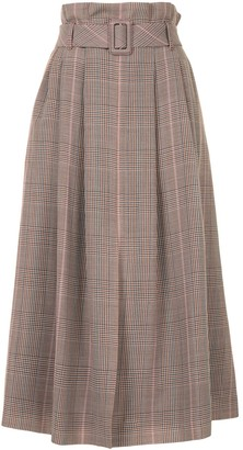 Paule Ka Belted Check Midi Skirt