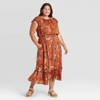 Universal Thread Women's Striped Futter Short Seeve Dress - Universa ThreadTM