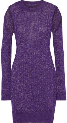 MM6 MAISON MARGIELA Cutout Marled Ribbed-knit Mini Dress