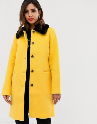 Vila faux fur trim button down coat-Yellow