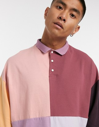 ASOS DESIGN oversized polo shirt with waffle in mutli colour