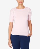Catherine Malandrino Crew-Neck Embroidered Top
