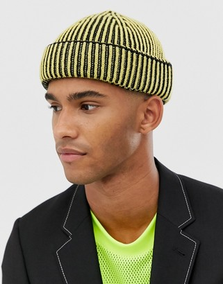 ASOS DESIGN fisherman beanie with two tone rib in pale yellow