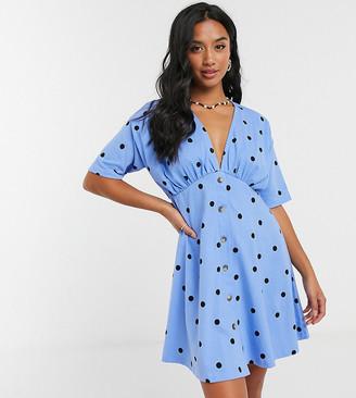 ASOS DESIGN Petite tea dress with horn buttons in blue spot print