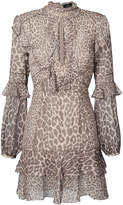J. Mendel leopard print ruffled mini dress