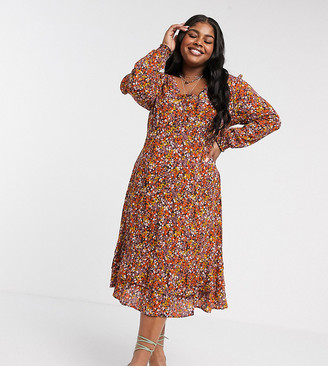 Junarose swing midi dress in floral