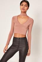 Missguided Pink Slinky Choker Neck Crop Top