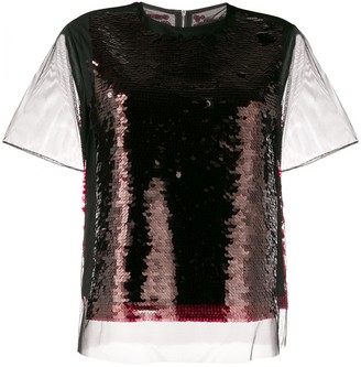 McQ Swallow sequin mesh T-shirt