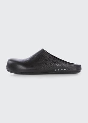 Marni Sabot Leather Flat Slide Mules