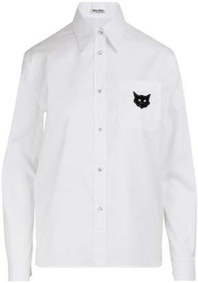 Miu Miu Cats patch shirt