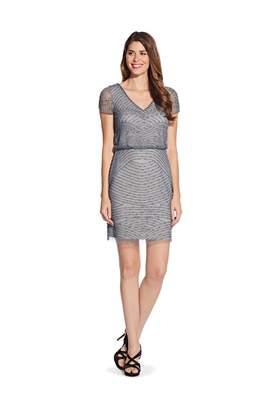Adrianna Papell Blouson Beaded Short Dress