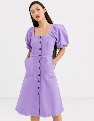 Rachel Antonoff lulu puff sleeve denim midi dress