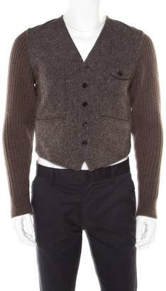 Dolce & Gabbana Brown Cotton Wool Tweed Waistcoat Blazer S
