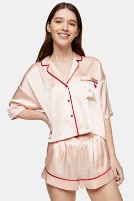 Topshop Pink Pyjama Satin Shorts Set