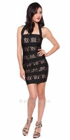Atria Stripped Lace Halter Cocktail Dress