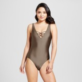 Mossimo Women's Strappy V-Neck One Piece Swimsuit