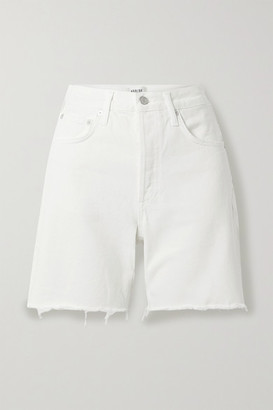 AGOLDE Rumi Frayed Denim Shorts - White