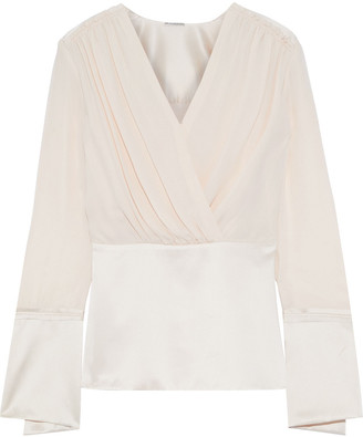 Elie Tahari Zina Wrap-effect Silk Crepe De Chine And Satin Peplum Top