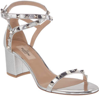 Valentino Rockstud 60 Patent & Grainy Leather Sandal