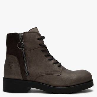 Fly London Buna Grey & Ground Leather & Suede Zip Ankle Boots