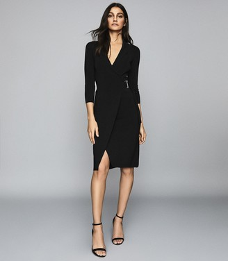 Reiss Brie - Knitted Wrap Front Bodycon Dress in Black