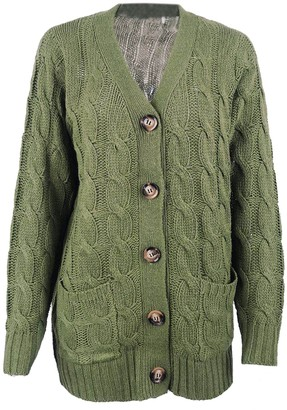 Goodnight Macaroon 'Gemma' Cable Knit V-neck Button Down Cardigan with Pockets (8 Colors)