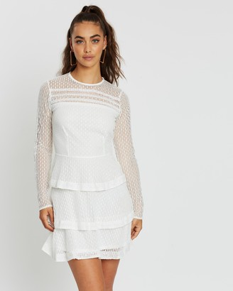 Missguided High-Neck Lace Ruffle Dress