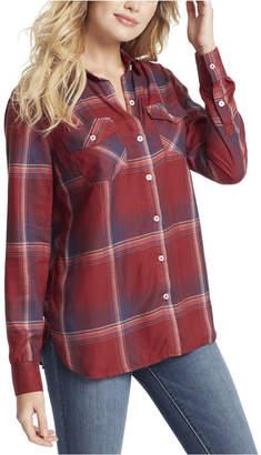 Jessica Simpson Junior Petunia Plaid Button Up Shirt Top