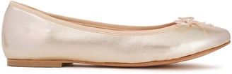 French Sole Lola Bow-embellished Metallic Textured-leather Ballet Flats