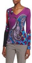 Etro Snow Leopard Print V-Neck Sweater, Pink