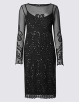 Marks and Spencer Embroidered Mesh Lined Bodycon Dress