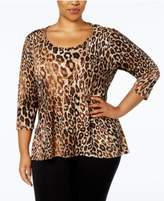 NY Collection Plus Size Leopard-Print Necklace Top