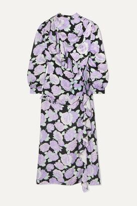 Miu Miu Crystal-embellished Ruffled Floral-print Silk-jacquard Maxi Dress - Lilac