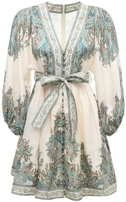 Zimmermann Printed Linen Mini Dress