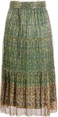 BA&SH Pleated Floral Skirt