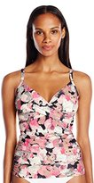 Calvin Klein Women's Poppy Twist Tankini with Sewn in Soft Cups and Tummy Control