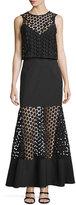 Nicholas Twofer Geometric-Lace Layered Gown, Black