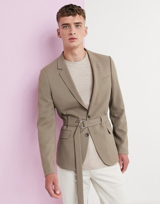 Asos Design DESIGN skinny blazer with belt in camel-Tan