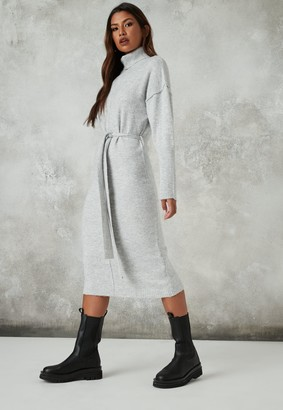 Missguided Recycled Grey Seam Front Knit Midaxi Dress