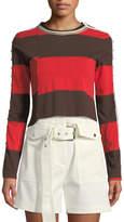 3.1 Phillip Lim Striped Long-Sleeve Jersey Crop Top