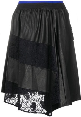 Koché Lace Panel Asymmetric Skirt