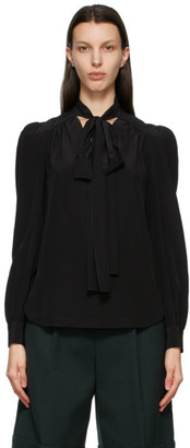 See by Chloe Black Silk Neck-Tie Blouse