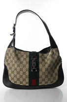 Gucci Monogram Canvas Leather Silver Tone Jackie Shoulder Bag