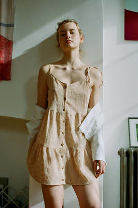 Urban Renewal Vintage Remnants Eyelet Button-Front Mini Dress
