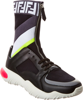 Fendi High Top Tech Fabric & Leather Slip-On Sneaker