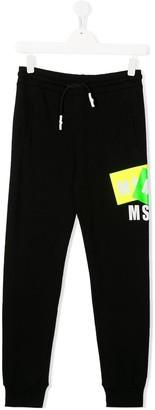MSGM Kids TEEN logo print trousers