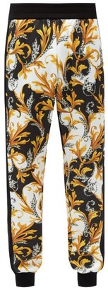 Versace Baroque-print Technical Jersey Track Pants - Black Yellow